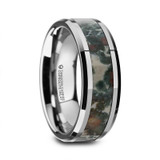 Alabandus Tungsten Carbide Beveled Men's Wedding Band with Coprolite Fossil Inlay from Vansweden Jewelers