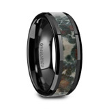 Polyperchon Black Ceramic Beveled Men's Wedding Band with Coprolite Fossil Inlay from Vansweden Jewelers