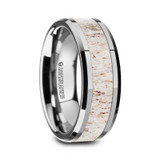 Eirenaeus Polished Beveled Tungsten Carbide Men's Wedding Band with Off-White Deer Antler Inlay from Vansweden Jewelers