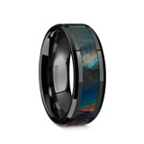 Xenophilus Black Ceramic Wedding Band with Spectrolite Inlay from Vansweden Jewelers