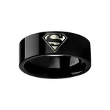 Superman Shield Logo Engraved Black Tungsten Wedding Band from Vansweden Jewelers