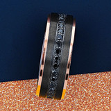 Sisyphus Black Titanium Men's Wedding Band with Rose Gold Edges and Black Sapphires