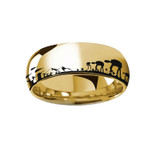 Star Wars Hoth Battle Engraved Yellow Gold Plated Tungsten Ring from Vansweden Jewelers