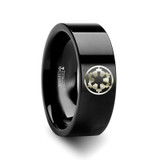 Star Wars Sith Imperial Emblem Black Tungsten Engraved Ring from Vansweden Jewelers