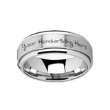 Handwritten Engraved Tungsten Carbide Spinner Ring from Vansweden Jewelers