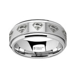 Superman Logo Engraved Tungsten Carbide Spinner Wedding Band from Vansweden Jewelers