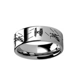 Tie Fighter X-Wing Design Engraved Tungsten Carbide Ring from Vansweden Jewelers