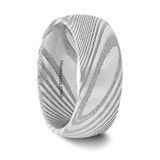 Agathocles Domed Damascus Steel Men's Wedding Band from Vansweden Jewelers