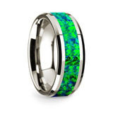 Theano 14k White Gold Men's Wedding Band with Blue and Green Opal Inlay from Vansweden Jewelers