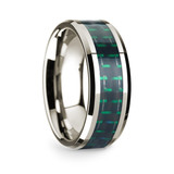 Timanthes 14k White Gold Men's Wedding Band with Black & Green Carbon Fiber Inlay from Vansweden Jewelers