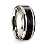 Damophilus 14k White Gold Men's Wedding Band with Black & Red Carbon Fiber Inlay from Vansweden Jewelers