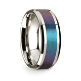 Theon 14k White Gold Men's Wedding Band with Blue & Purple Color Changing Inlay from Vansweden Jewelers