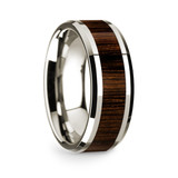 Eurybiades 14k White Gold Men's Wedding Band with Black Walnut Inlay from Vansweden Jewelers