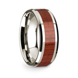Archimedes 14k White Gold Men's Wedding Band with Padauk Inlay from Vansweden Jewelers