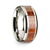 Theophilus 14k White Gold Men's Wedding Band with Mahogany Inlay from Vansweden Jewelers
