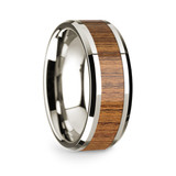 Heraclides 14k White Gold Men's Wedding Band with Teakwood Inlay from Vansweden Jewelers