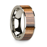 Lycus 14k White Gold Men's Wedding Band with Zebra Wood Inlay from Vansweden Jewelers