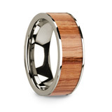 Chiron 14k White Gold Men's Wedding Band with Red Oak Wood Inlay from Vansweden Jewelers