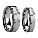 Super Mario Bros Engraved Tungsten Carbide Couple's Matching Wedding Band Set