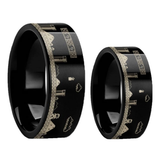 Super Mario Bros Engraved Black Tungsten Carbide Couple's Matching Wedding Band Set