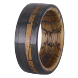 Cephalus Carbon Fiber and Whiskey Barrel Wood Men's Wedding Band