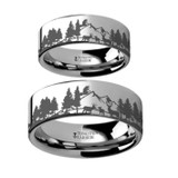 Deer and Mountain Range Engraved Tungsten Couple's Matching Wedding Band Set from Vansweden Jewelers