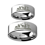 Landscape Scene with Deer Engraved Tungsten Couple's Matching Wedding Band Set from Vansweden Jewelers