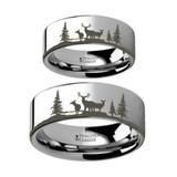 Landscape Scene with Deer and Trees Engraved Tungsten Couple's Matching Wedding Band Set from Vansweden Jewelers