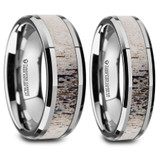 Ombre Deer Antler Inlaid Tungsten Couple's Matching Wedding Band Set from Vansweden Jewelers