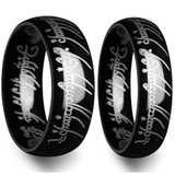 Lord of the Rings Black Tungsten Couple's Matching Wedding Band Set