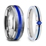 Blue Stripe Couple's Matching Wedding Band Set from Vansweden Jewelers