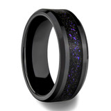 Galaxy Black Ceramic Men's Wedding Band with Purple Inlay - 8mm Width - from Vansweden Jewelers