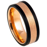 Rose Gold Tungsten Men's Wedding Band with Black Edges