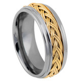 Tungsten Men's Wedding Band with Braided Rope Inlay from Vansweden Jewelers