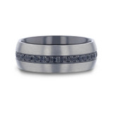 Heracles Brushed Titanium Men's Wedding Band with Black Sapphires