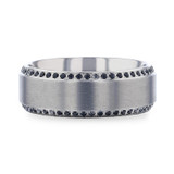 Hydra Brushed Titanium Men's Wedding Band with Black Sapphires from Vansweden Jewelers