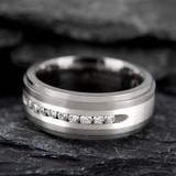 Crito Titanium Men's Wedding Band with 9 White Diamonds in Silver Inlay from Vansweden Jewelers
