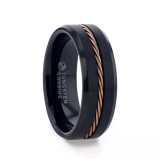 Galen Black Tungsten Men's Wedding Band with Braided Rose Gold Inlay from Vansweden Jewelers