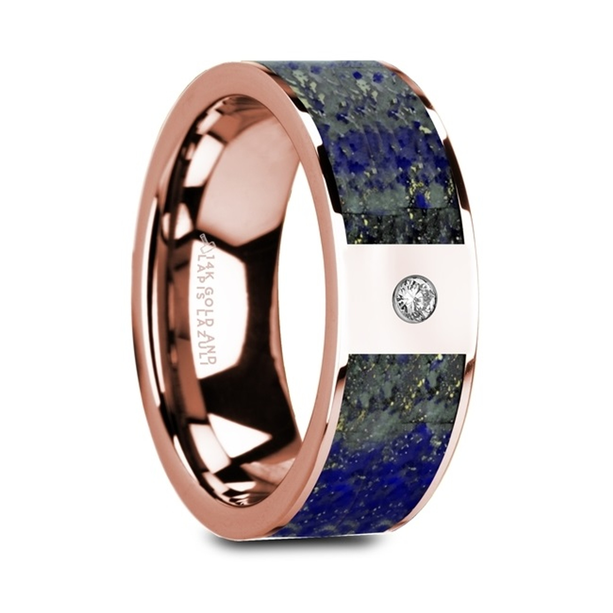 Guneus Flat 14K Rose Gold Ring with Blue Lapis Lazuli Inlay and White Diamond from Vansweden Jewelers