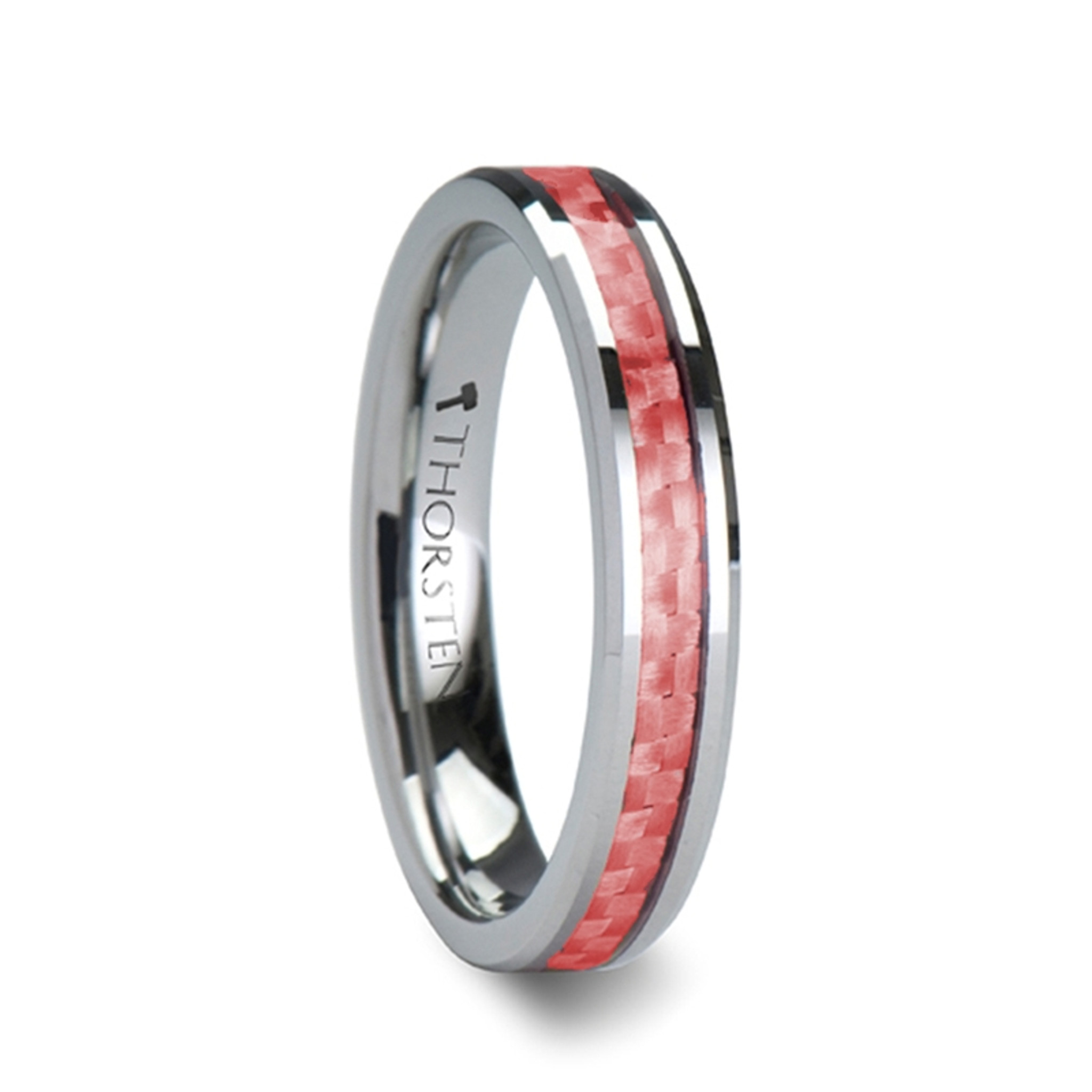 Aphareus Beveled Tungsten Carbide Ring with Pink Carbon Fiber from Vansweden Jewelers