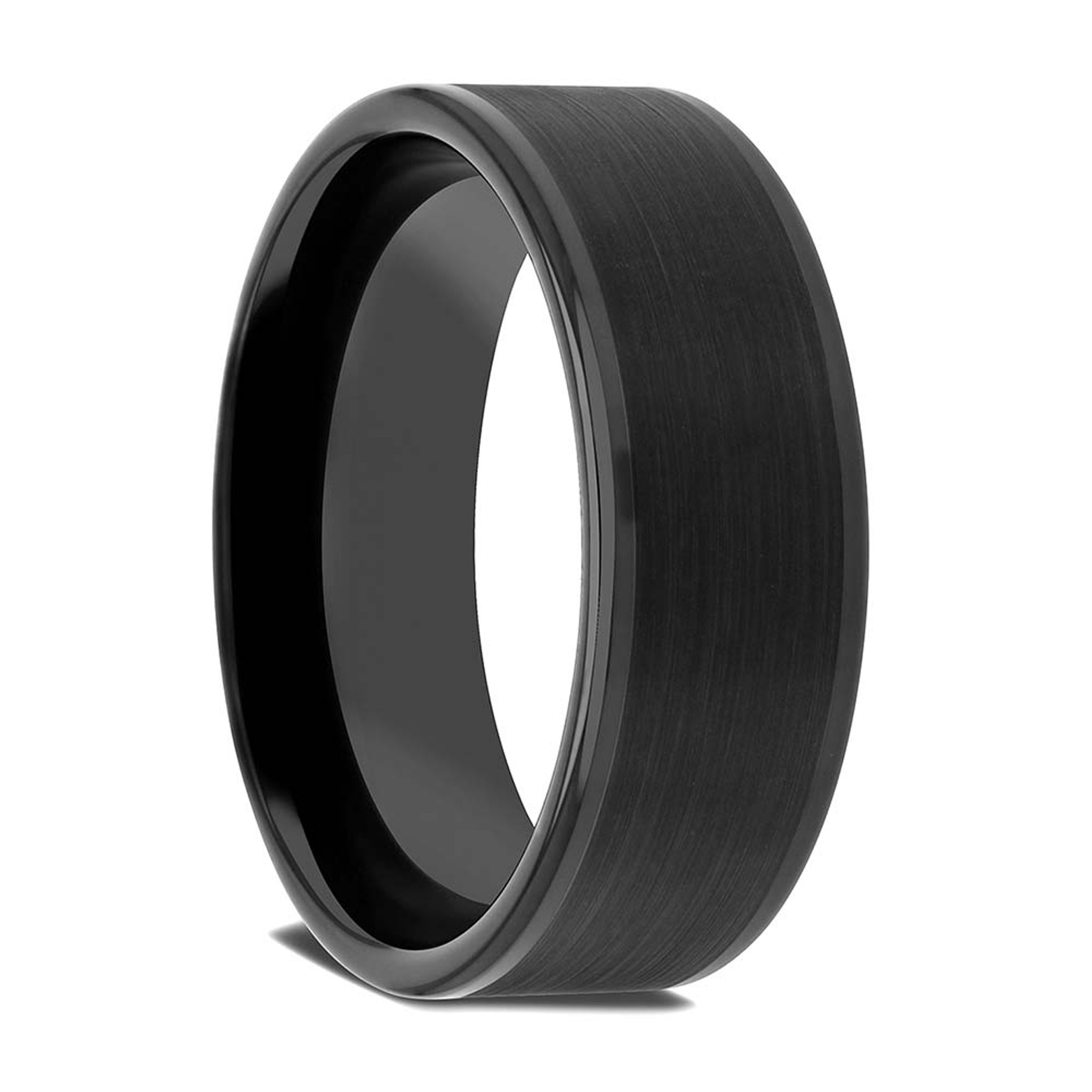 Leto Brushed Center Black Tungsten Wedding Band from Vansweden Jewelers
