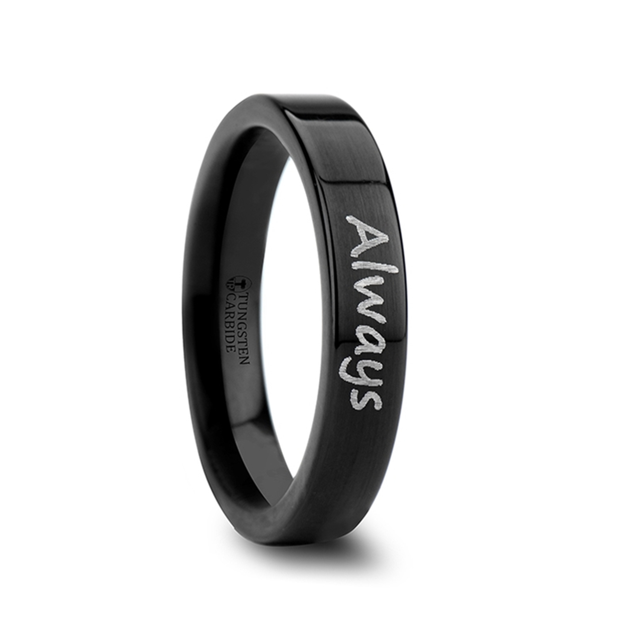 Briseis Handwritten Engraved Flat Pipe Cut Black Polished Tungsten Ring from Vansweden Jewelers