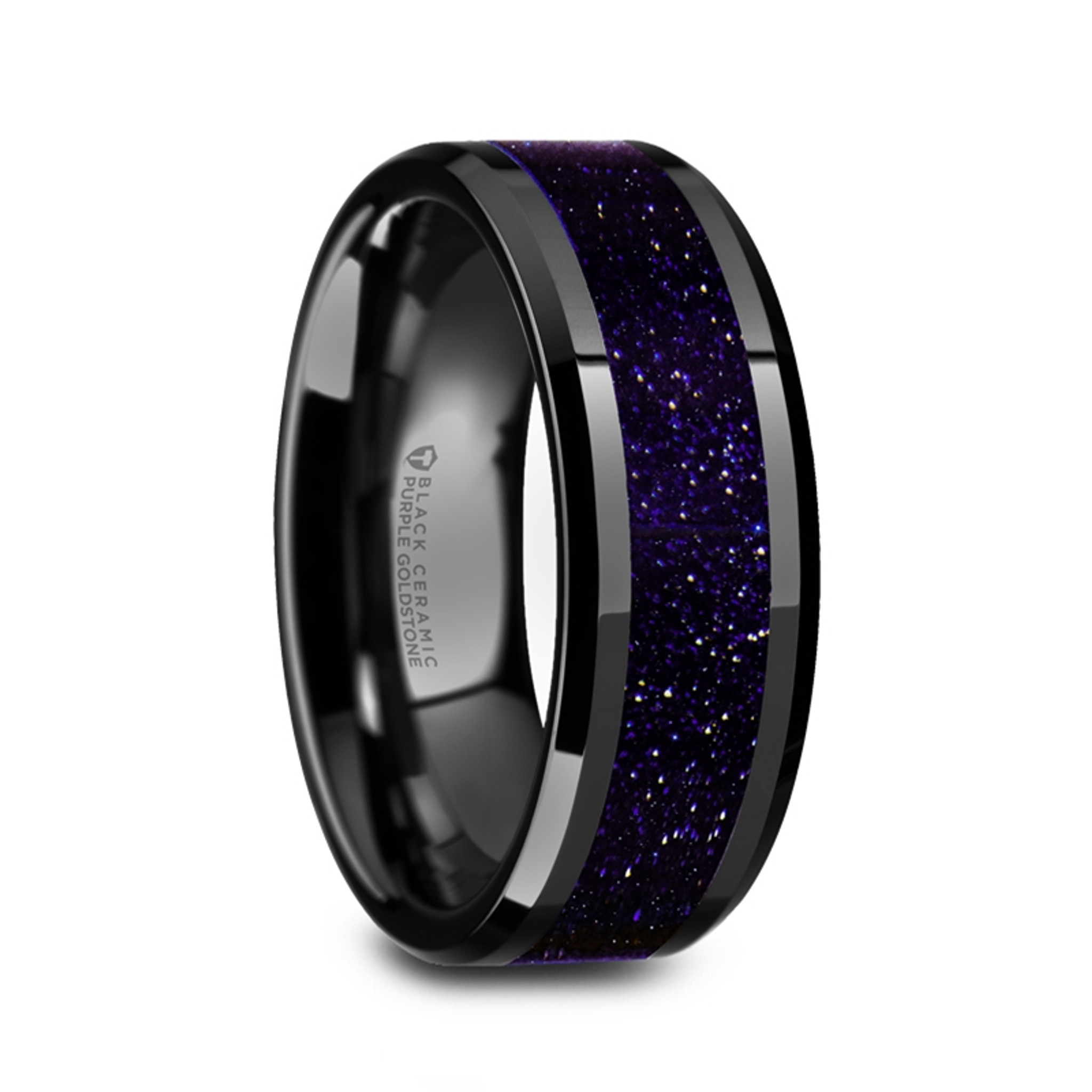 Aergia Black Ceramic Polished Men's Wedding Band with Purple Goldstone Inlay from Vansweden Jewelers