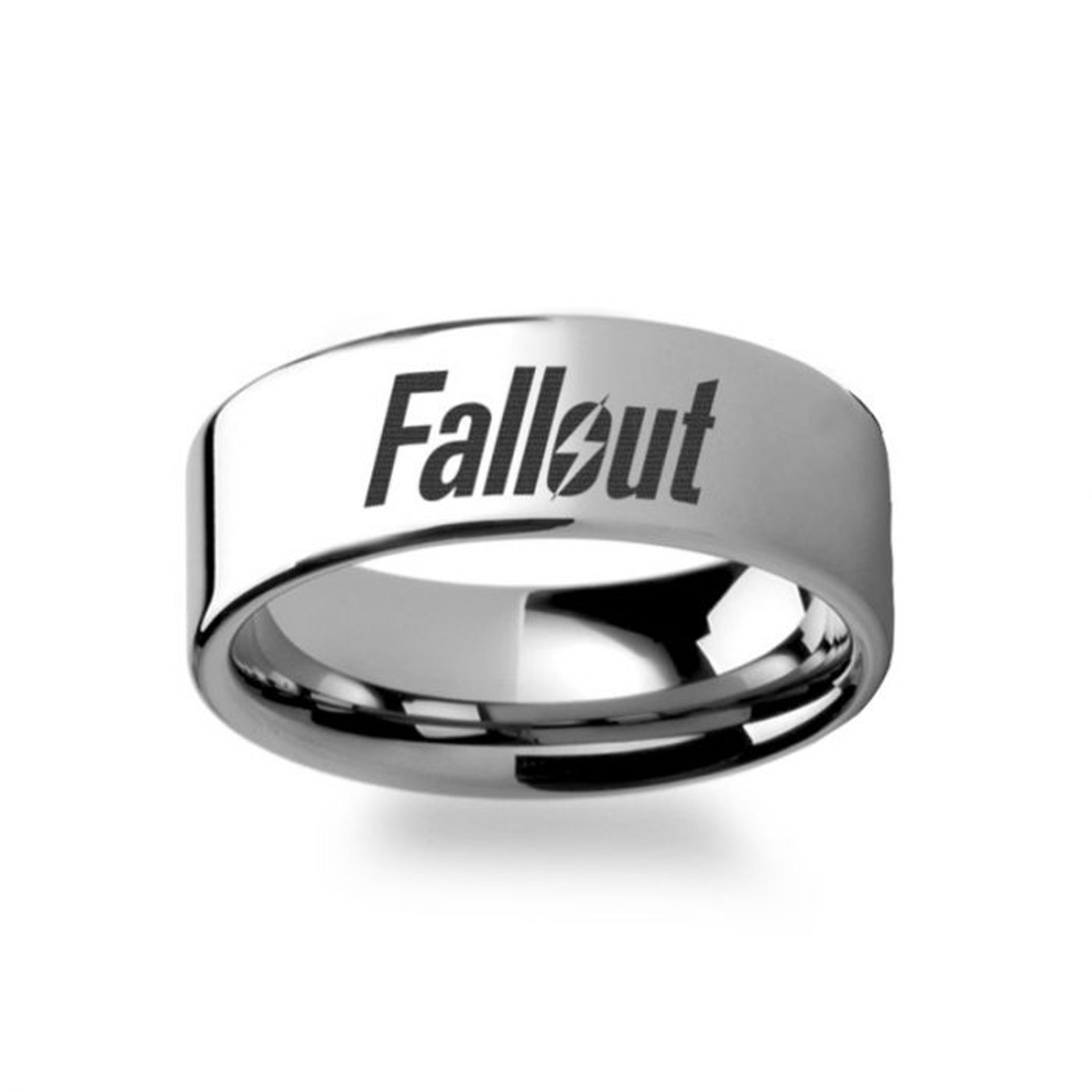 Fallout 9 Engraved Tungsten Wedding Band