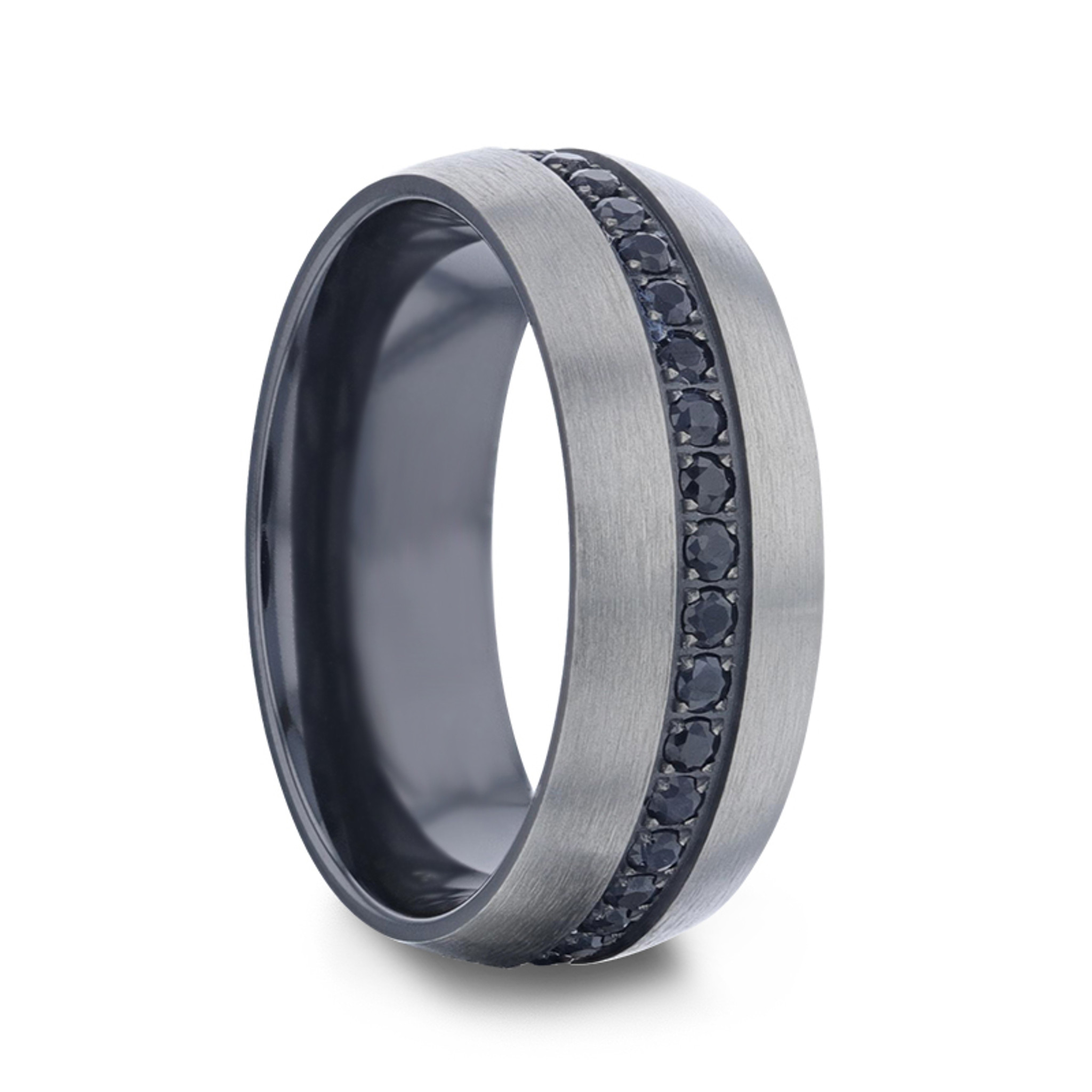 Heracles Brushed Titanium Men's Wedding Band with Black Sapphires from Vansweden Jewelers