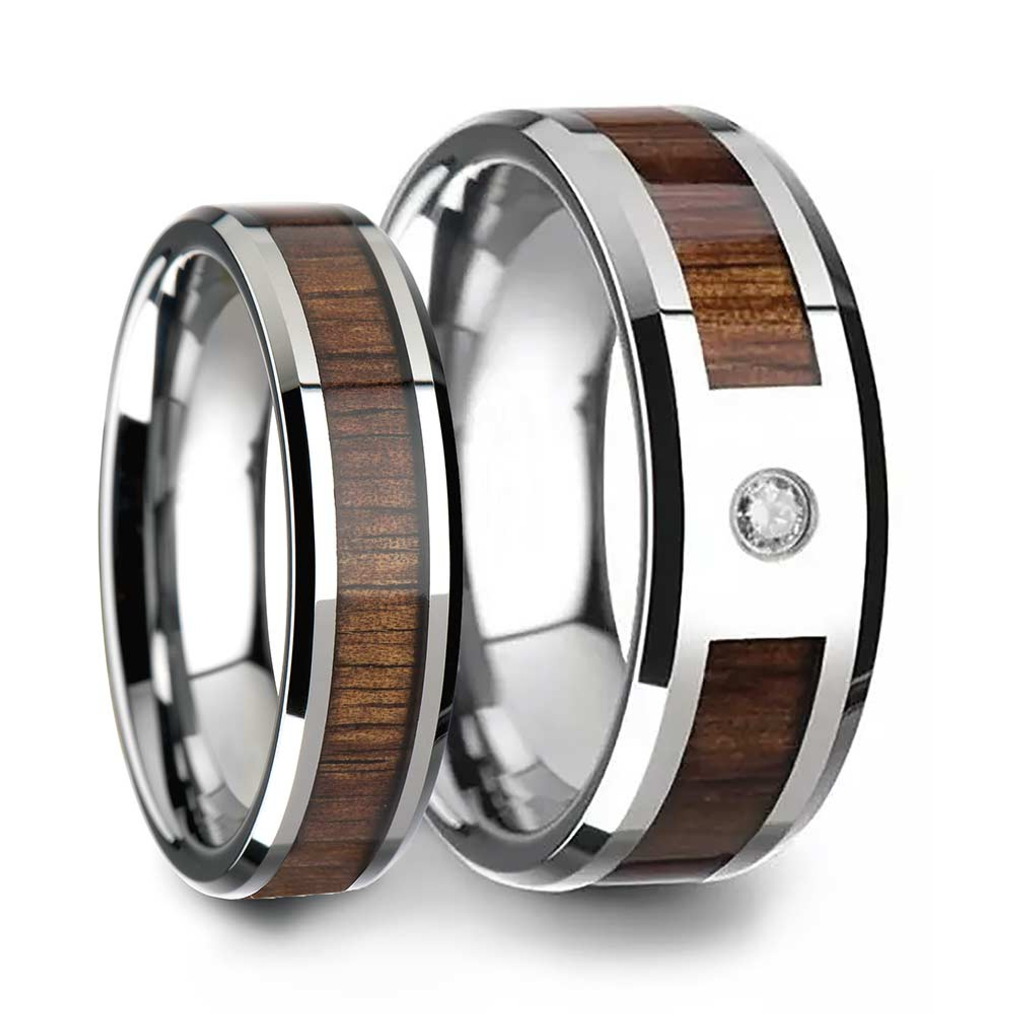 Koa Wood Inlaid Tungsten Couple's Matching Wedding Band Set from Vansweden Jewelers