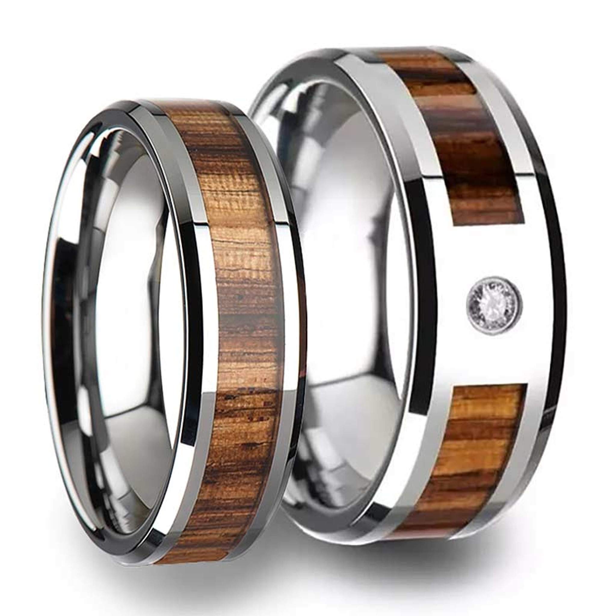 Zebra Wood Inlaid Tungsten Couple's Matching Wedding Band Set from Vansweden Jewelers