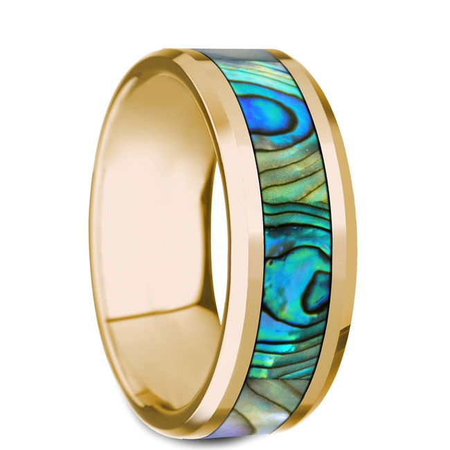 The Pterelaos Beveled Polished 14K Yellow Gold Ring with Mother of Pearl Inlay from Vansweden Jewelers