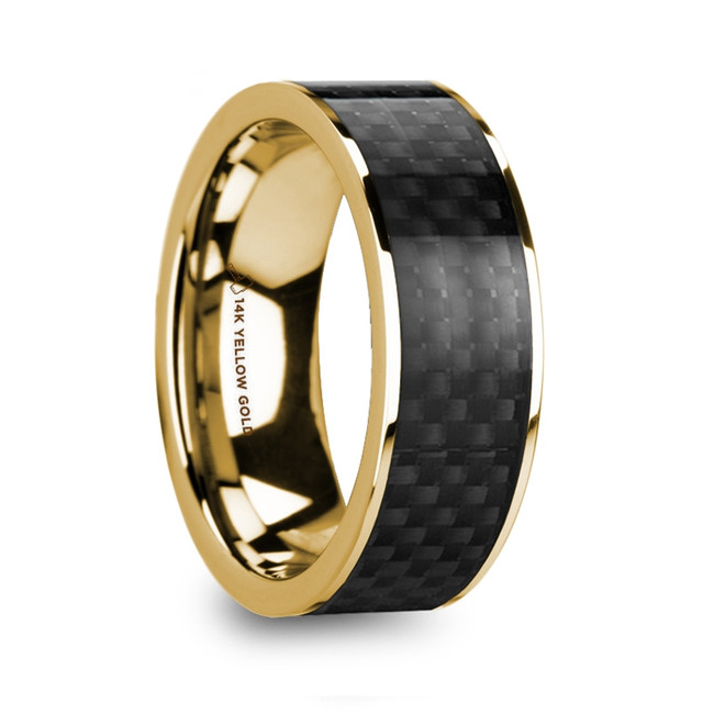The Philoctetes Polished 14k Yellow Gold Men's Wedding Ring with Black Carbon Fiber Inlay from Vansweden Jewelers