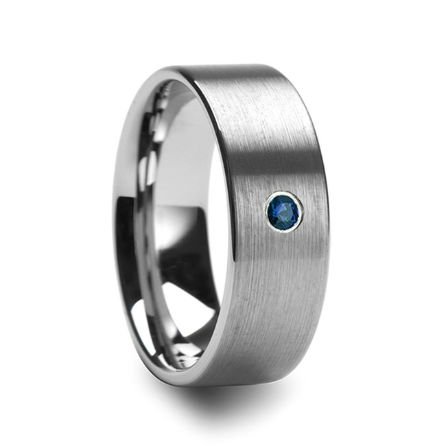 The Harpalion Men's Brushed Finish Flat Tungsten Wedding Band with Blue Diamond from Vansweden Jewelers